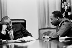 President Lyndon B. Johnson meets with Martin Luther King Jr. in the White House Cabinet Room, 1966   (Lyndon Baines Johnson Library and Museum.)