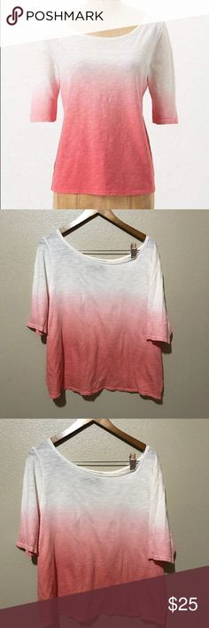 """Anthropologie graduated dip dyed Top Size medium Brand- Monday Tuesday Wednesday Thursday Friday Saturday Sunday-  Excellent used condition Anthropologie Top Size medium-   The graduated dip dyed tee  Ivory/pink/peach like colors- super cute in the back-  From top to bottom is 23""""  Bust 20"""" straight across  100% cotton Anthropologie Tops Blouses"""