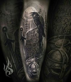 Tattoo Odin, Mic Tattoo, Forarm Tattoos, Cover Tattoo, Body Art Tattoos, Celtic Tattoo Symbols, Celtic Tattoos, Viking Tattoos, Viking Tattoo Sleeve
