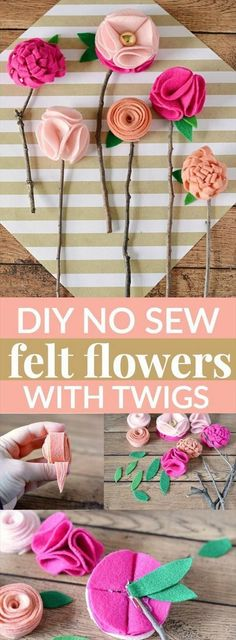 hese DIY no sew felt flowers are the perfect homemade Mother's Day gift – and the best part is, is that they'll never wilt or die! make your own beautiful felt flowers with no sewing needed. They look so beautiful on the twigs. A fun DIY project. Kids Crafts, Diy And Crafts, Craft Projects, Felt Projects, Kids Diy, Easy Crafts, Crafts With Felt, No Sew Crafts, Handmade Crafts