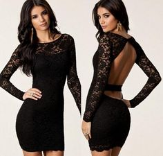High Quailty 2015 Black Lace Cocktail Dresses Long Sleeves With Lace Applique Sheath Crew Mini Skirt Girls Backless Prom Party Dresses SKG from Engerlaa,$102.36 | DHgate.com
