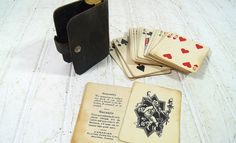 Vintage Travelers Playing Cards in Black Leather Clutch - Canadian Playing Cards Complete Pack - Poker Professional Pocket Necessity Wallet
