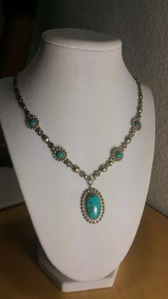 Vintage Victorian Style Navajo Native American Brilliand BlueTurquoise Necklace Artisan Made Sterling silver