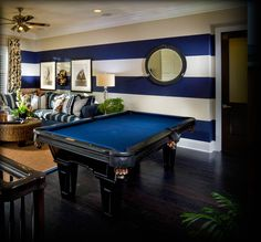 Fun game room with a nautical feel - this is so much nicer than a pool table in a concrete walled basement surrounded by tools and lawn mowers.