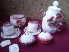 Crocheted Tea set for childrens by UniqueGiftLand on Etsy