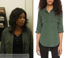"Ashe Akino (Sanaa Lathan) wears this green button down shirt in this episode of Shots Fired, ""Hour Nine: Come To Jesus"". It is the Bella Dahl Flap Pocket Button Down. Buy it HERE Worn with: Alexander Wang Top Button Downs, Button Down Shirt, Shots Fired, Sanaa Lathan, Green Button, Dahl, Green Shirt, Shirt Shop, Season 1"
