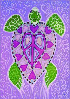 Heart shaped purple turtle