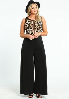 Plus Size Leopard and Mesh Jumpsuit Curvy Outfits, Outfits For Teens, Plus Size Outfits, Casual Outfits, Fashion Outfits, Curvy Girl Fashion, Plus Size Fashion, Mesh Jumpsuit, Chic And Curvy