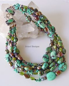Schaef Designs Signature Collection | Sleeping Beauty Turquoise, Jet & Sterling Silver Necklace |Designer Jewelry