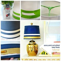 spray paint and gilded lamp shade makeover tutorial @At The Picket Fence