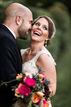 Seriously stunning bride donning the birdcage veil and a huge smile! #cedarwoodweddings Passion Fruit & Berries :: Courtney+Jason | Cedarwood Weddings