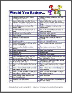 """Might be doing this as an ice breaker at the beginning of the year, when my theme is Coming of Age/Self Assertion... Exploing """"Would You Rather..."""