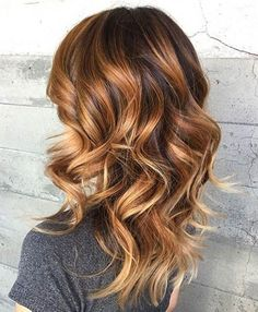 Beautiful Wavy Brown Hair with Bright Copper Highlights