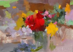 Floral Painting Still Life Roses in a Bowl Canvas Art by Pysar