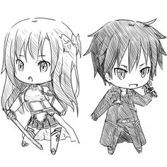 Chibi Asuna and Kirito!! I didn't draw these, but I'm going to!! :D *SAO*