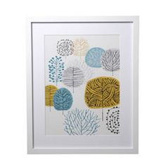 Heal's | Blue and Mustard Trees Framed Print by Eloise Renouf