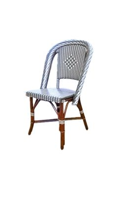 "Bistro Side Chair HK-1362 Dimensions: 19"" Wide x 21 1/4"" Deep x 35 1/2"" High over all ​ Weave: L1H2 Diamond Primary Color: Shiny White Secondary Color: Shiny Grey Wood Finish: Dark Honey"