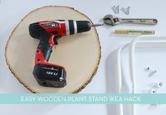 IKEA HACK: Simple Wood Slab Plant Stand