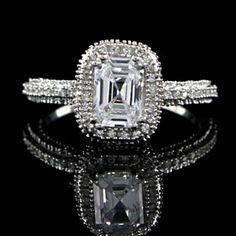 Solid Sterling Silver 925S 2.51 Cts Radiant Cut Solitaire Engagement Ring by JewelryHub on Opensky