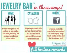 Hosting a Jewelry Bar is easy! There is no obligation from the Hostess to purchase anything....all you need is 4 orders from your friends and family to get 15% of the total sales in free jewelry! Email me to get started jaimeb.origamiowl@gmail.com