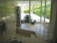 Sunken bath shower combo with steps Sunken Bathtub, Stone Bathtub, Tub Shower Combo, Shower Tub, Freestanding Bath With Shower, Room Wall Tiles, Bathtub Remodel, Wet Rooms, Bathroom Ideas