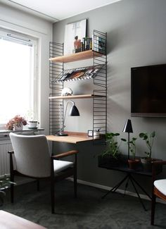 The Perfect Office - Logitech Mouse, Speakers, Makerbot Digitizer and Office Ideas Office Nook, Home Office Decor, Home Decor, Office Ideas, Desk In Living Room, Living Spaces, Small House Interior Design, House Design, Living Furniture
