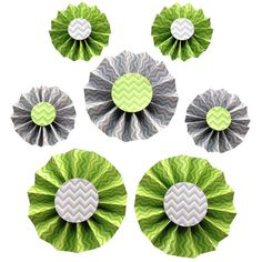 Items similar to 7 Paper Rosettes - Green and Gray Birthday Party Hanging Decorations on Etsy Green And Grey, Gray, Paper Rosettes, Green Party, Party Supplies, Unique Jewelry, Birthday, Handmade Gifts, Color