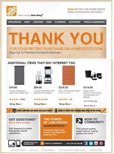 Transactional email example from Home Depot
