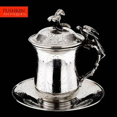 ANTIQUE 20thC OTTOMAN EMPIRE SOLID SILVER SAHLEP CUP & SAUCER, EGYPT c.1900 #Ottoman