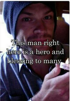 Jared Padalecki from Supernatural helping us all Always Keep Fighting Jensen Ackles Jared Padalecki, Jared And Jensen, Supernatural Fans, Castiel, Supernatural Pictures, Jim Beaver, Winchester Boys, Keep Fighting, Superwholock