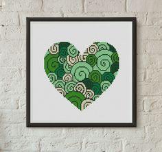 Heart cross stitch pattern valentines cross stitch pattern pdf