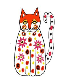 Shop for art on Etsy, the place to express your creativity through the buying and selling of handmade and vintage goods. Frida Art, Cat Quilt, Silly Cats, Fox Art, Cat Cards, Cat Colors, All About Cats, Here Kitty Kitty, Pretty Cats
