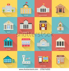 Government buildings icons set with long shadow. Includes church, school, police, museum, library, theater, airport, bank isolated, vector illustration - stock vector