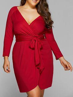 Autumn Lace-Up Plus Size Wrap Dress