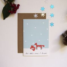 Cute Christmas Card - Foxes in Love