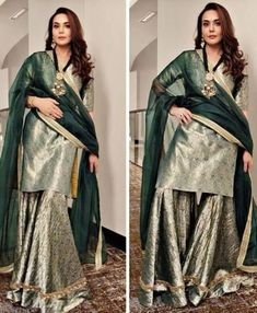 For details / order please dm or Whatsapp on . Indian Bridesmaid Dresses, Desi Wedding Dresses, Pakistani Bridal Dresses, Pakistani Dress Design, Indian Dresses, Indian Outfits, Party Wear Lehenga, Party Wear Dresses, Designer Punjabi Suits