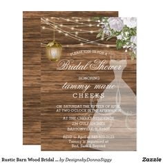 Rustic Barn Wood Bridal Shower - White Invitation