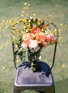 late summer bouquet, photo by Bret Cole http://ruffledblog.com/lake-tahoe-wedding-inspiration #weddingbouquet #flowers