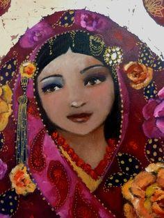 A Journey of Silk by Loetitia Pillault art Illustrations, Illustration Art, Art Des Gens, Art Visage, People Art, French Artists, Various Artists, Portrait Art, Face Art