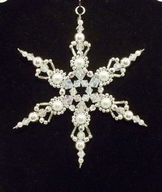 Snowflake Ornament - White Pearl Silver and Clear crystal