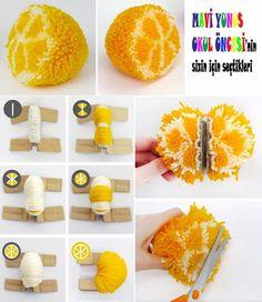 Fruits Pompoms, How to Make a Orange Pompom - L'atelier de Romane: Pompons Fruits Diy For Kids, Crafts For Kids, Arts And Crafts, Pom Pom Crafts, Yarn Crafts, Diy Pompon, Pom Pom Animals, Wool Dolls, Pom Pom Maker