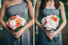 Gray and Coral Wedding Colors // by Kate Ignatowski Photography / DC Wedding Photographer