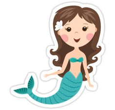 """Cute cartoon mermaid with brown hair stickers"" Stickers by MheaDesign 