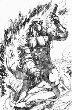 Hellboy Sketch by Brett Booth 03/22/2014