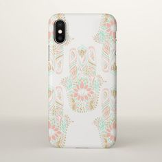 Modern girly pink mint gold Hamsa hand of fatima iPhone X Case - glitter gifts personalize gift ideas unique
