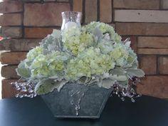 light blue hydrangea centerpiece