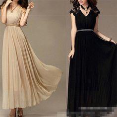 Lace-WOMEN-S-SEXY-V-NECK-MAXI-BOHO-LONG-BEACH-SUMMER-DRESS-EVENING-PARTY-DRESSES