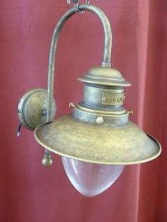 APPLIQUE DA MURO OTTONE BRUNITO VETRO A GOCCIA lampada lampioncino lampione D 21