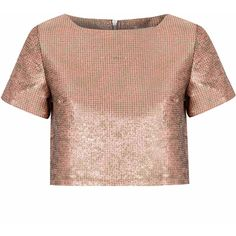 Rose Gold Jacquard Crop Top (€32) ❤ liked on Polyvore featuring tops, crop tops, shirts, crop, gold, short sleeve crop top, jacquard top, crop top, cut-out crop tops and cropped shirts