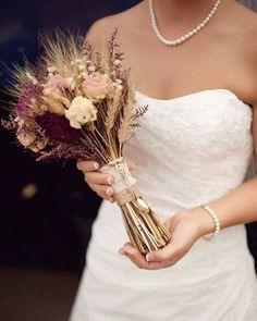 @curiouscountry posted to Instagram: Look at this stunning fall wedding bouquet! Create the look with blond wheat, happy flowers, ruby red silk grass, dried peonies in burgundy, cream and pink. Tie it up with burlap and lace for a rustic finish. #weddingbouquet #weddingflowers #bridalbouquet #bouquet #weddingdecor #weddingideas #weddinginspiration #weddinginspo #weddingstyle #weddingdetails #bridetobe #weddingreception #weddingseason #rusticwedding #bohowedding #weddingplanning #elopement #ind